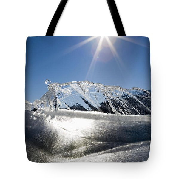 Ice Formations On A Frozen Lake Tote Bag by Michael Interisano