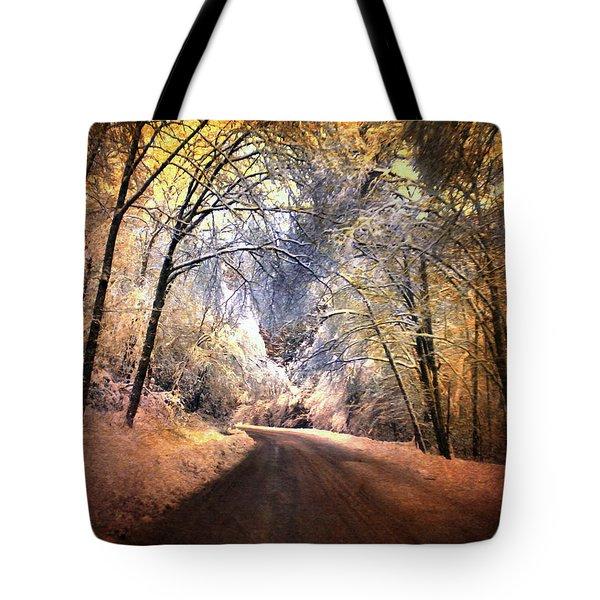 Icy Road Tote Bag by Jai Johnson