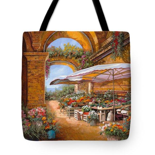 il mercato sotto i portici Tote Bag by Guido Borelli
