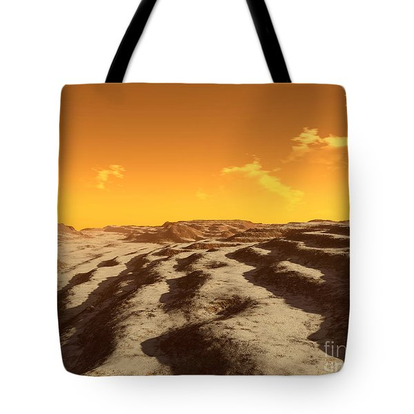 Illustration Of Terraced Terrain Tote Bag by Ron Miller