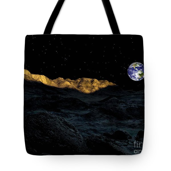 Illustration Of The Peaks Surrounding Tote Bag by Ron Miller