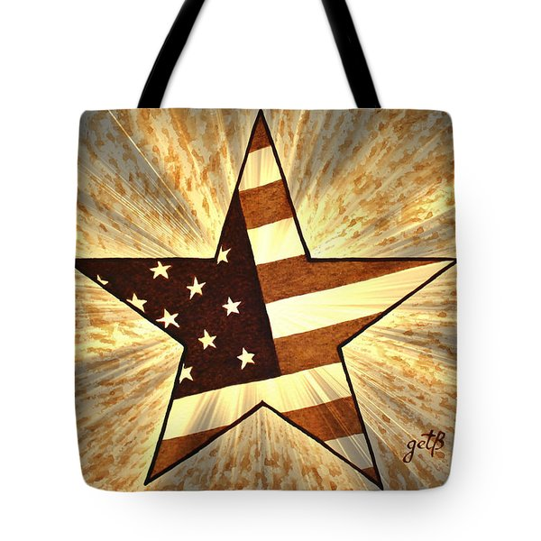 Independence Day Stary American Flag Tote Bag by Georgeta  Blanaru