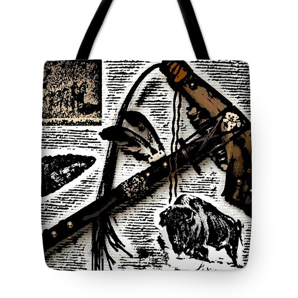 Indian Buffalo Jawbone Tomahawk Tote Bag by George Pedro