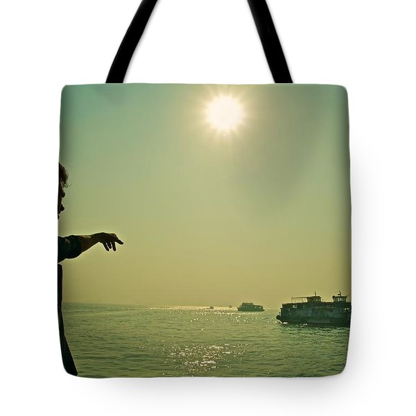 Indian Guide On The Sea Tote Bag by Valerie Rosen