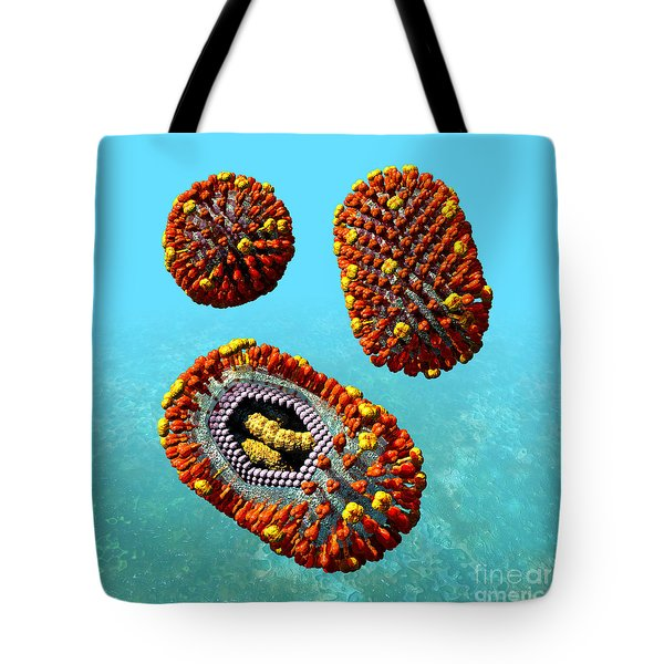 Influenza Virus Scene 1 Tote Bag by Russell Kightley