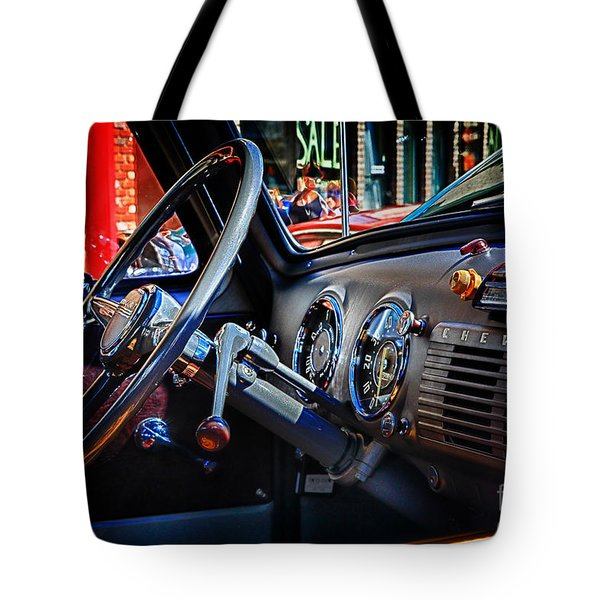 Inside Chevy Tote Bag by Lori Frostad