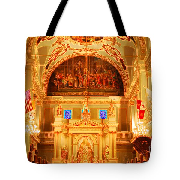 Inside St louis Cathedral Jackson Square French Quarter New Orleans Accented Edges Digital Art Tote Bag by Shawn O'Brien