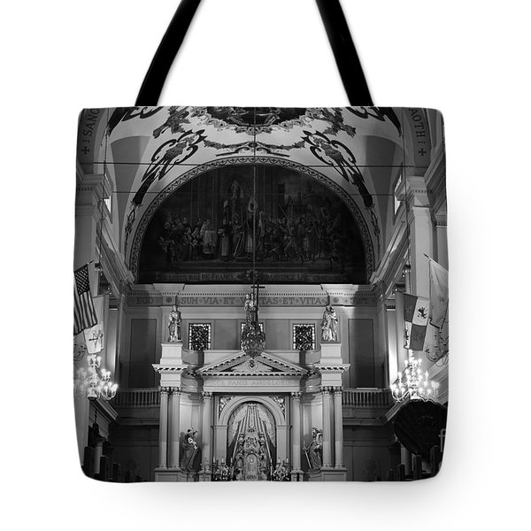 Inside St Louis Cathedral Jackson Square French Quarter New Orleans Black And White Tote Bag by Shawn O'Brien