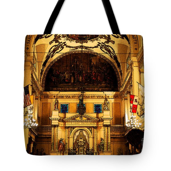 Inside St Louis Cathedral Jackson Square French Quarter New Orleans Fresco Digital Art Tote Bag by Shawn O'Brien