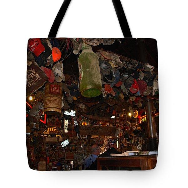 Inside the Bar in Luckenbach TX Tote Bag by Susanne Van Hulst