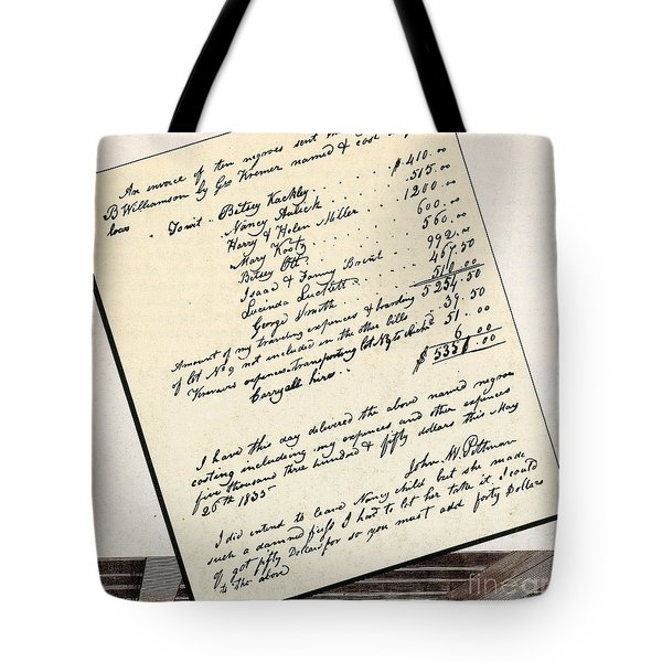 Invoice Of A Sale Of Black Slaves Tote Bag by Photo Researchers