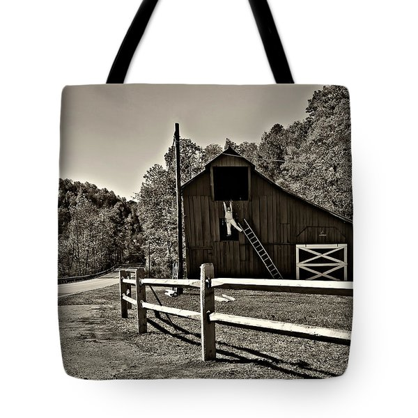 Involved In One's Work Sepia Tote Bag by Steve Harrington