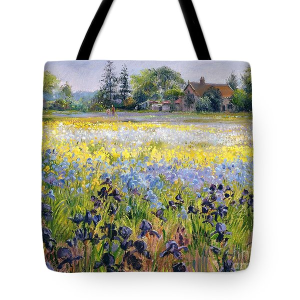Irises And Two Fir Trees Tote Bag by Timothy Easton