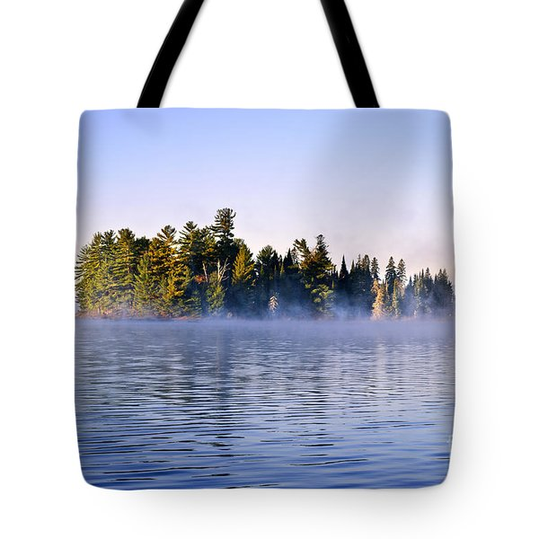 Island in lake with morning fog Tote Bag by Elena Elisseeva
