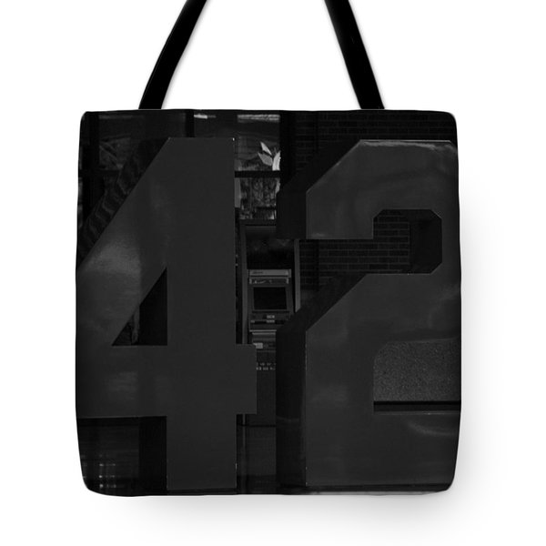 JACKIE ROBINSON in BLACK AND WHITE Tote Bag by ROB HANS