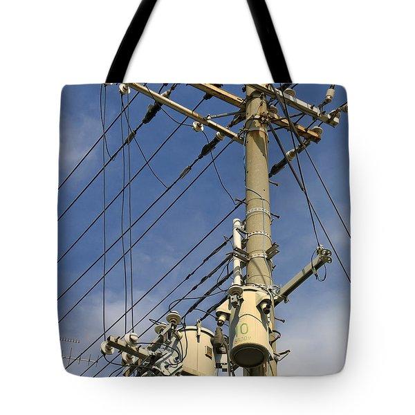 Japan Power Utility Pole Tote Bag by Daniel Hagerman