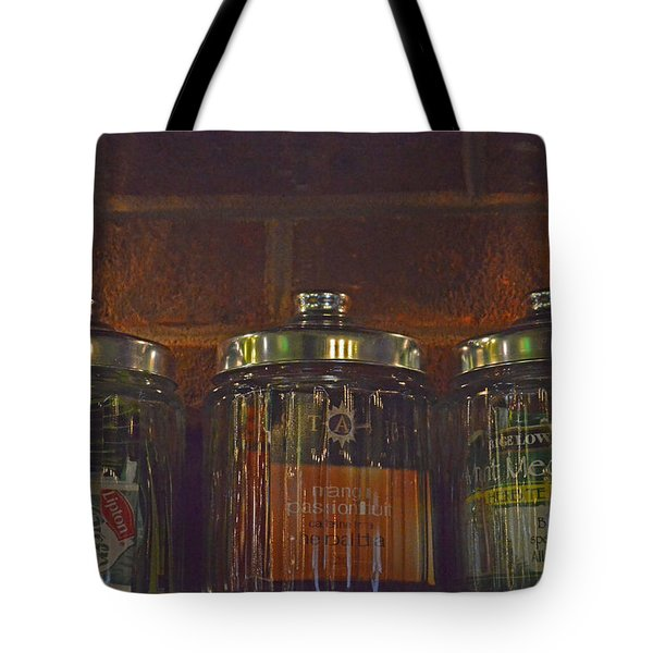Jars Of Assorted Teas Tote Bag by Sandi OReilly