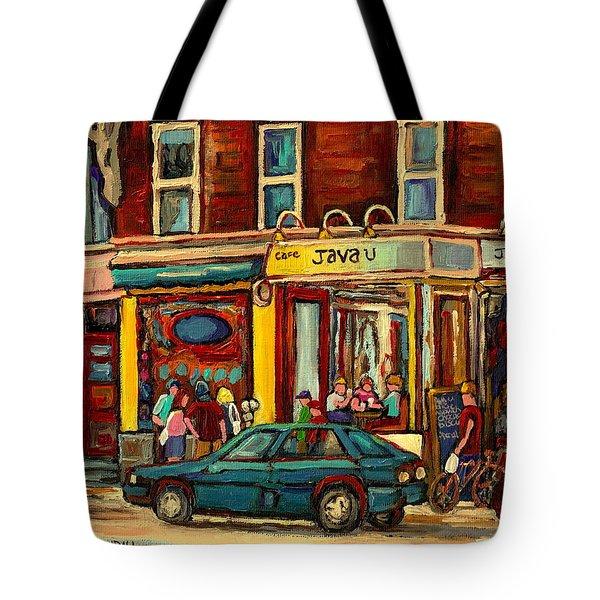 JAVA U COFFEE SHOP MONTREAL PAINTING BY STREETSCENE SPECIALIST ARTIST CAROLE SPANDAU Tote Bag by CAROLE SPANDAU