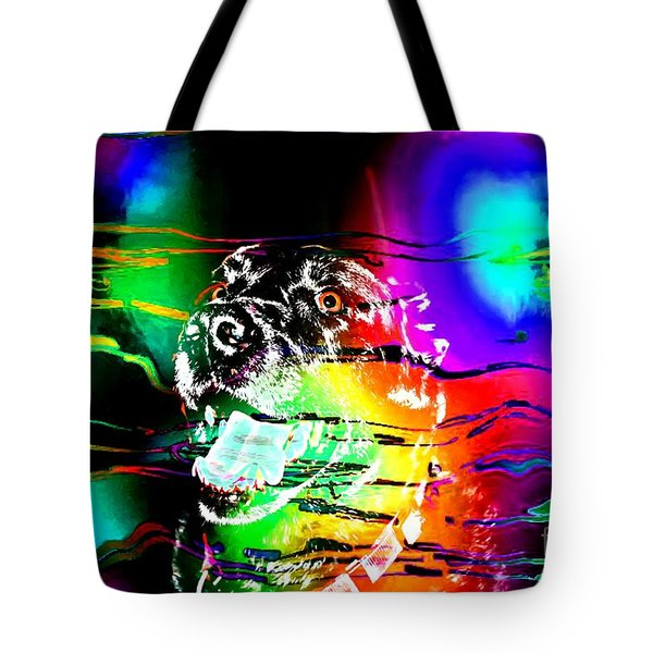 Jazzy Smiling Black Lab Tote Bag by Barbara Griffin