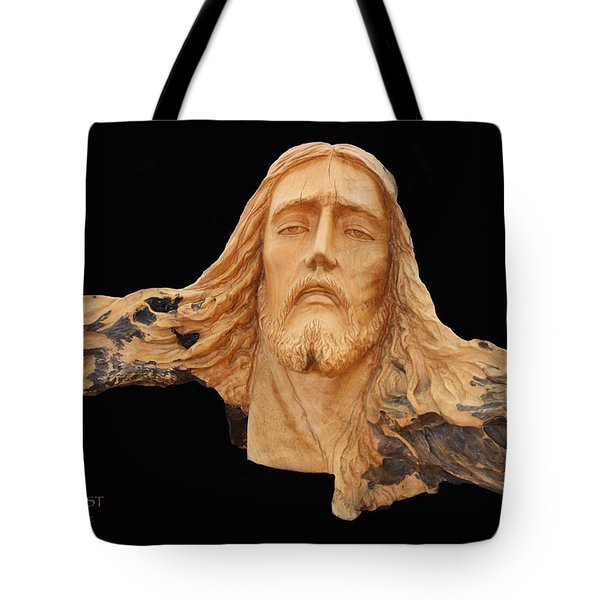 Jesus Christ Wooden Sculpture -  Four Tote Bag by Carl Deaville