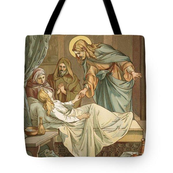 Jesus Raising Jairus's Daughter Tote Bag by John Lawson