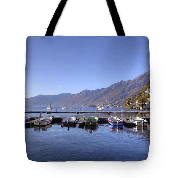 jetty in Ascona Tote Bag by Joana Kruse