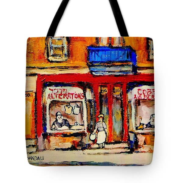 Jewish Montreal Vintage City Scenes De Bullion Street Cobbler Tote Bag by Carole Spandau