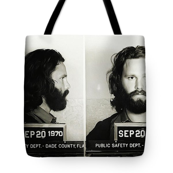 Jim Morrison Mugshot Tote Bag by Bill Cannon