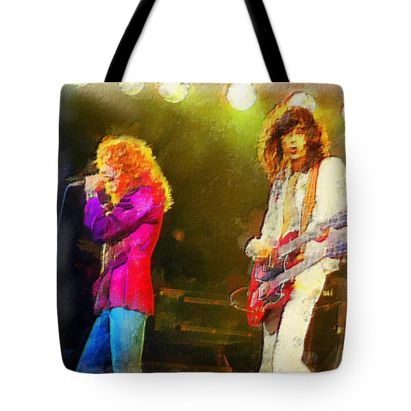 Jimmy Page And Robert Plant Tote Bag by Riccardo Zullian
