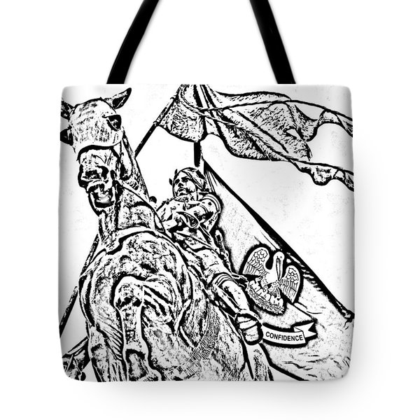 Joan Of Arc Statue French Quarter New Orleans Photocopy Digital Art Tote Bag by Shawn O'Brien
