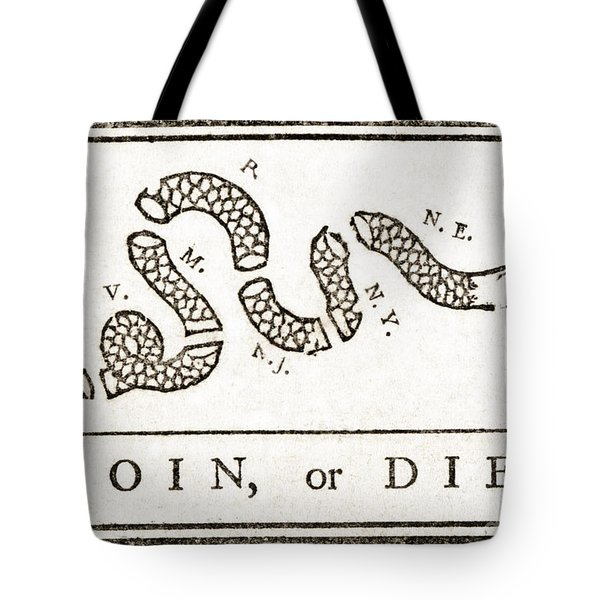 Join Or Die French And Indian War Tote Bag by Photo Researchers