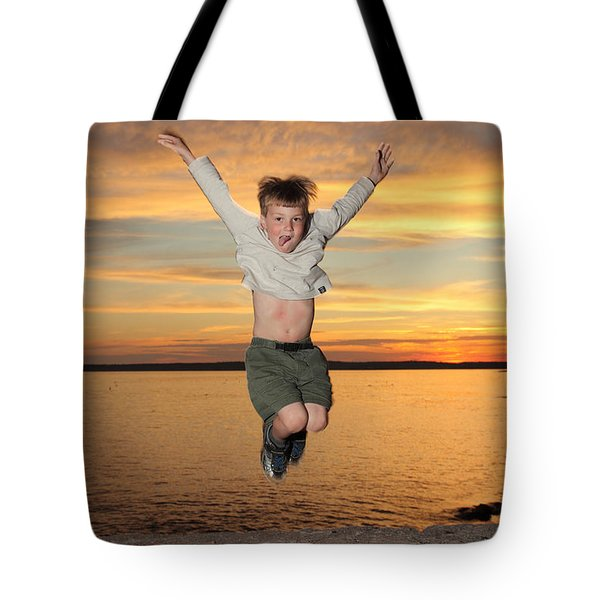 Jumping For Joy Tote Bag by Ted Kinsman