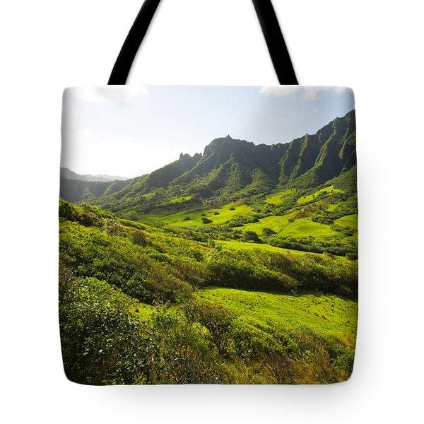 Kaaawa Valley And Kualoa Ranch Tote Bag by Dana Edmunds - Printscapes