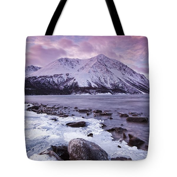 Kathleen Lake At Sunrise, Kluane Tote Bag by Robert Postma