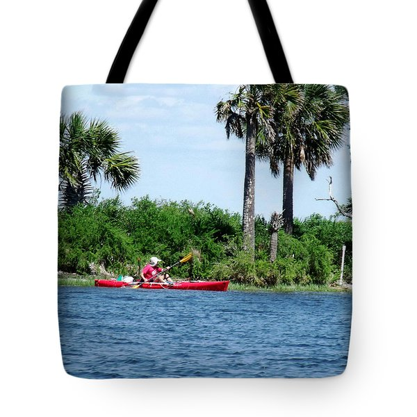 Kayaking Along The Gulf Coast Fl. Tote Bag by Marilyn Holkham