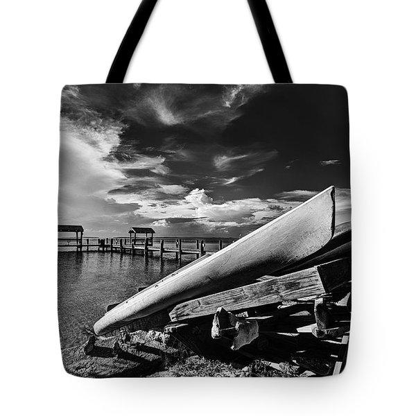 Kayaks Bw Tote Bag by Bruce Bain
