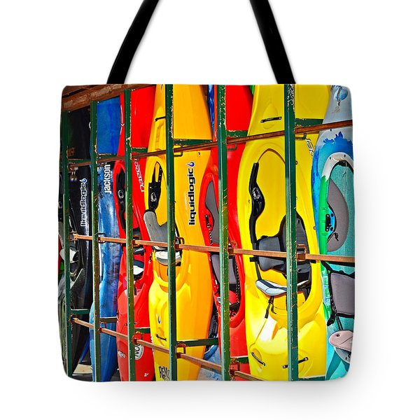 Kayaks In A Cage Tote Bag by Susan Leggett