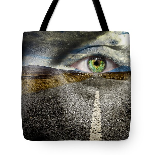 Keep Your Eyes On The Road Tote Bag by Semmick Photo