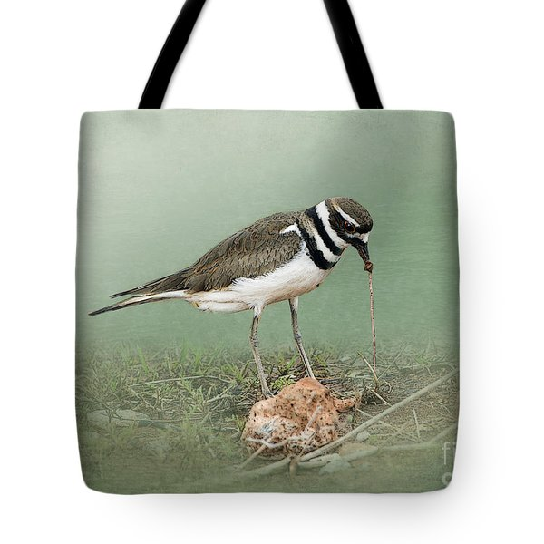 Killdeer And Worm Tote Bag by Betty LaRue