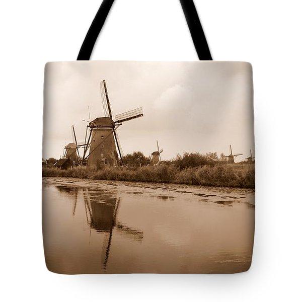 Kinderdijk In Sepia Tote Bag by Carol Groenen