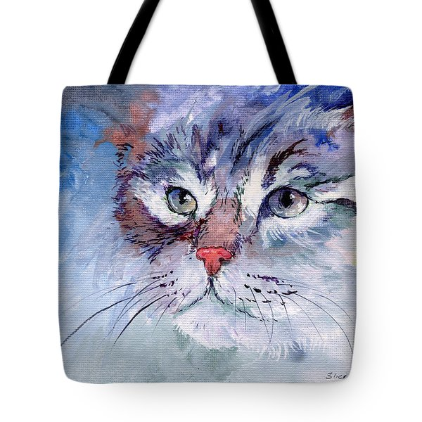 Kitty In Blue Tote Bag by Sherry Shipley