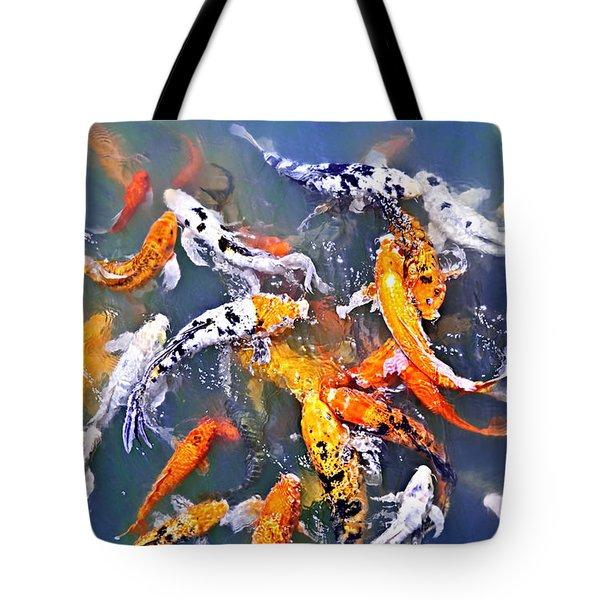 Koi fish in pond Tote Bag by Elena Elisseeva
