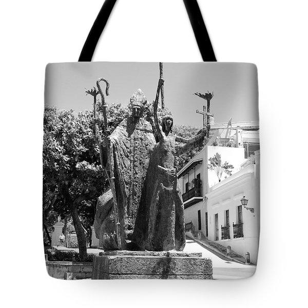 La Rogativa Sculpture Old San Juan Puerto Rico Black and White Tote Bag by Shawn O'Brien