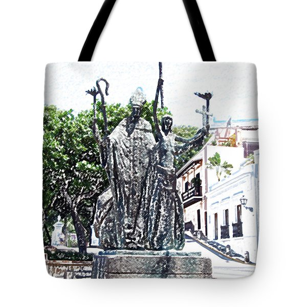 La Rogativa Sculpture Old San Juan Puerto Rico Colored Pencil Tote Bag by Shawn O'Brien