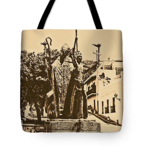 La Rogativa Sculpture Old San Juan Puerto Rico Rustic Tote Bag by Shawn O'Brien