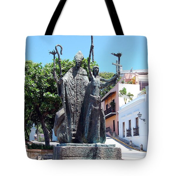 La Rogativa Sculpture Old San Juan Puerto Rico Tote Bag by Shawn O'Brien
