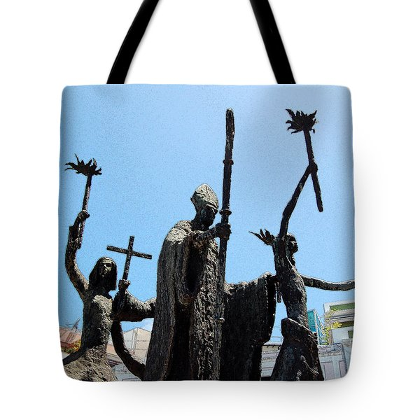 La Rogativa Statue Old San Juan Puerto Rico Ink Outlines Tote Bag by Shawn O'Brien