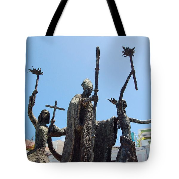 La Rogativa Statue Old San Juan Puerto Rico Tote Bag by Shawn O'Brien