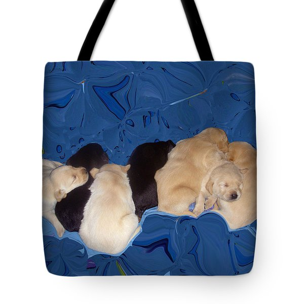 Lab Pups 1 Tote Bag by Aimee L Maher Photography and Art Visit ALMGallerydotcom