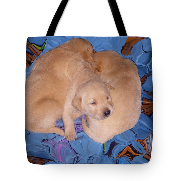 Lab Pups 2 Tote Bag by Aimee L Maher Photography and Art